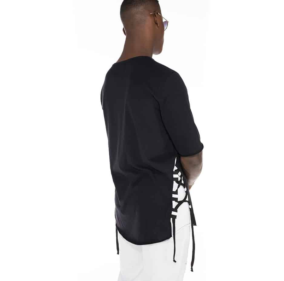 T-shirt with cords on the side