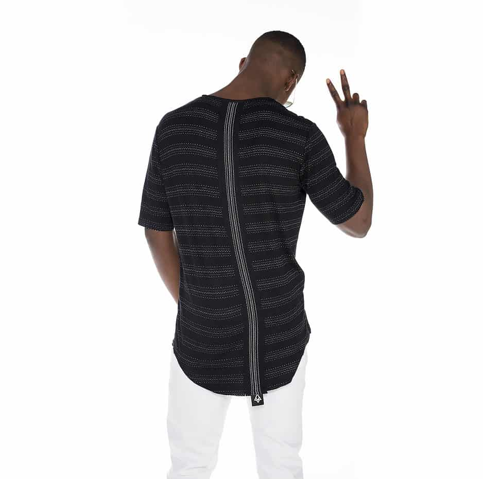 Asymmetric zakar t-shirt with tape on the back