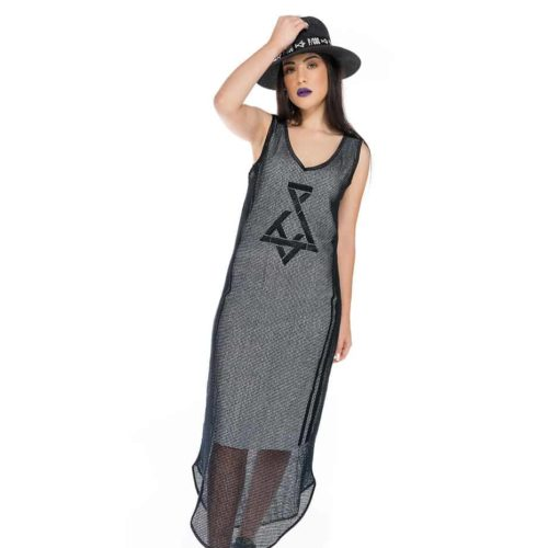 Sleeveless maxi dress with transparent details and P/COC logo in front
