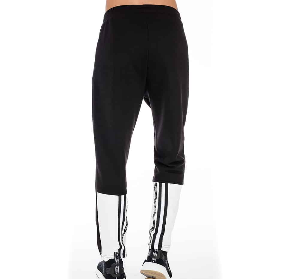 Black and white sporty trousers with P/COC details