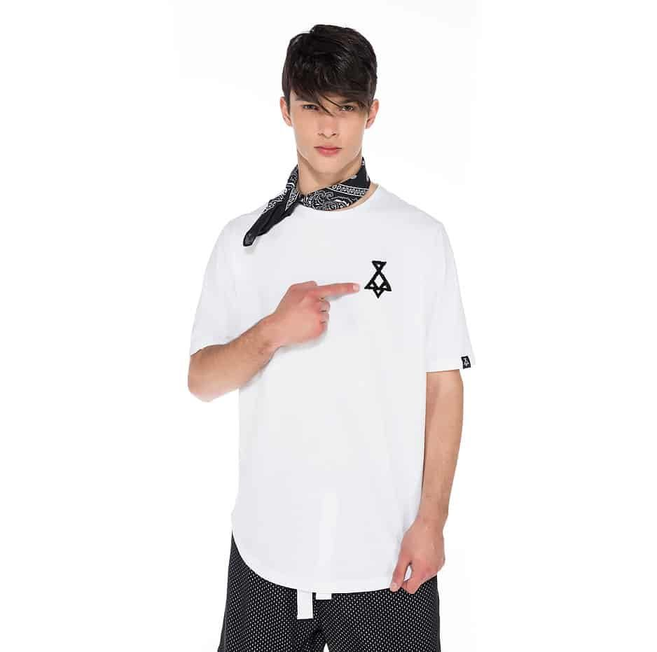 White asymmetric t-shirt with P/COC logo in front