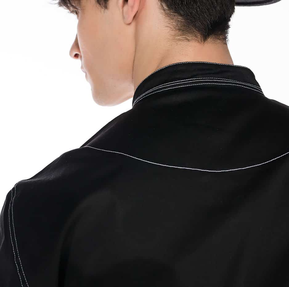 Black shirt with front pockets and white seams