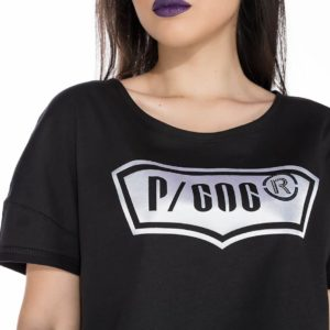 Black t-shirt with P/COC logo in front