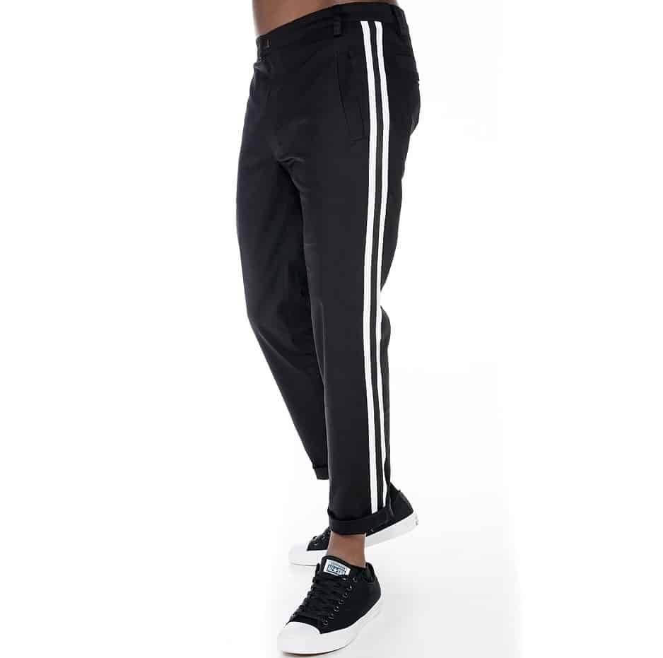 Black lane pants with stripes on the side