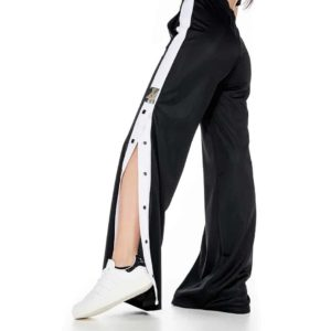 Bell-bottom sporty pants with tearing on the side