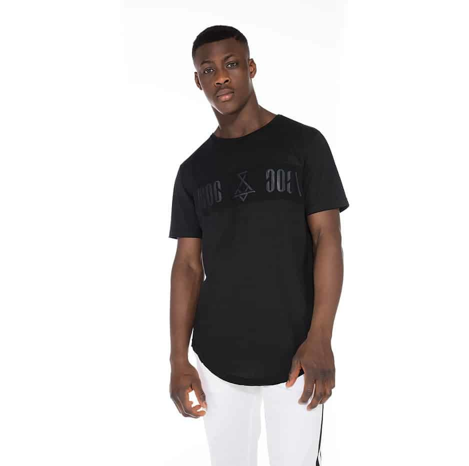 Black t-shirt with P/COC logo in front twice