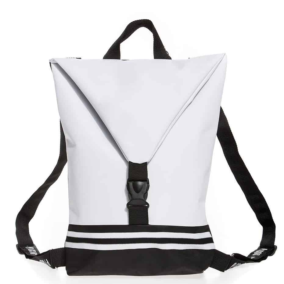 White bag with black and white stripes