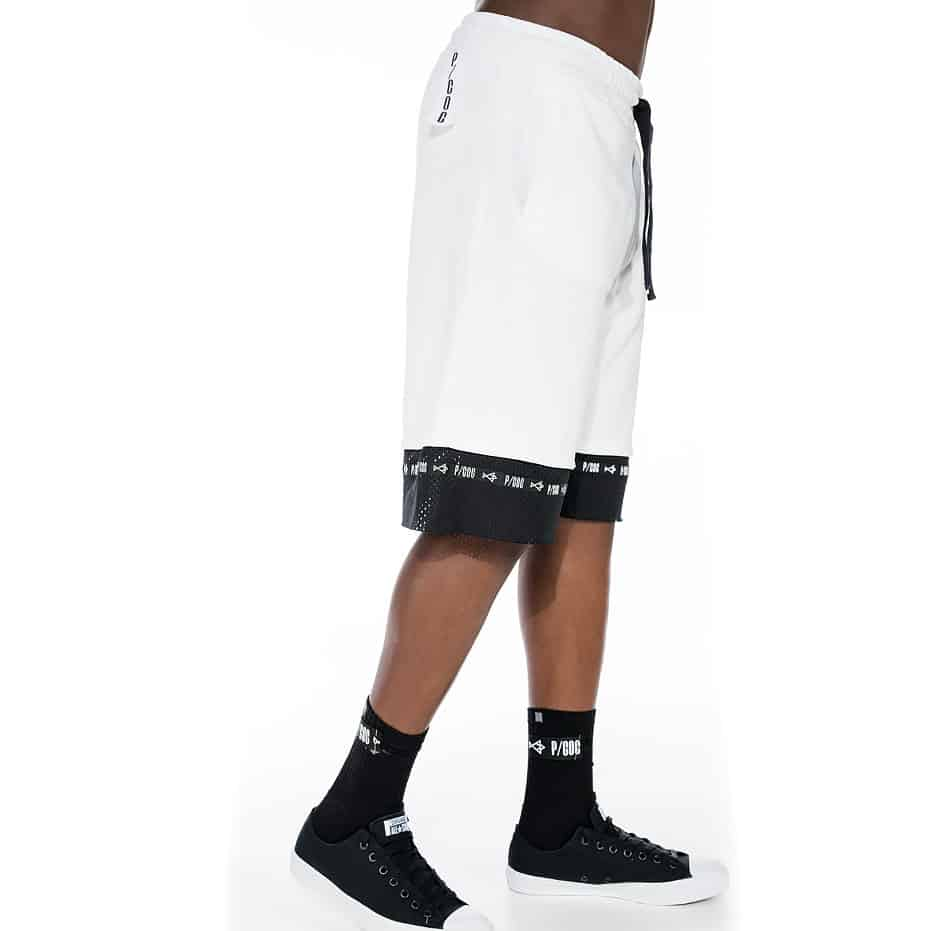 White shorts with liner coolmax mesh fabric on hem