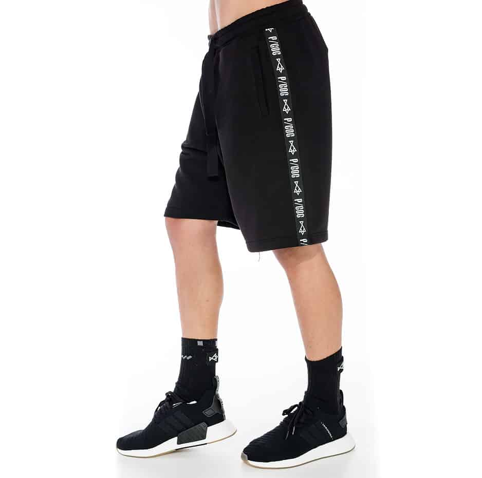 Sporty shorts with P/COC tape on the side