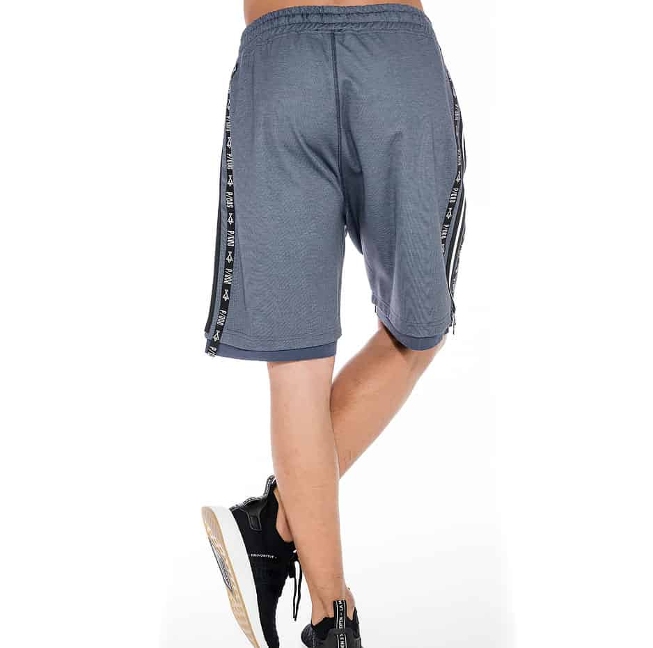 Indigo shorts with P/COC line on the side
