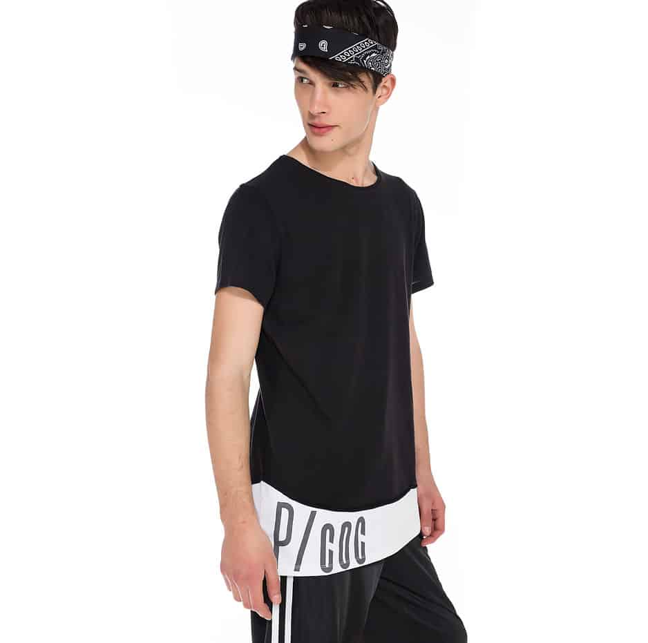 Double fabric t-shirt with P/COC logo on hem