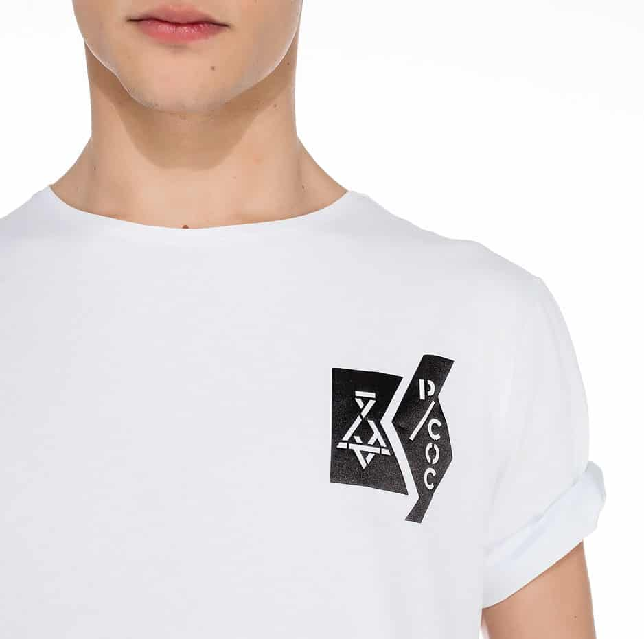 White t-shirt with P/COC logo in front and a line on the back