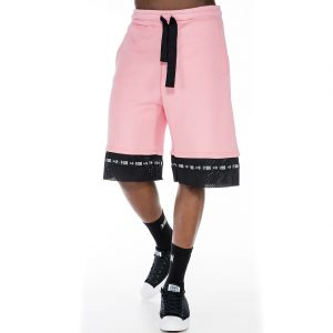 Pink shorts with liner coolmax mesh fabric on hem