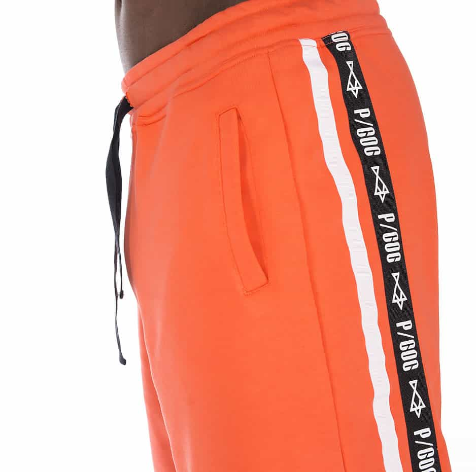 Coral sporty shorts with P/COC tape and line on the side