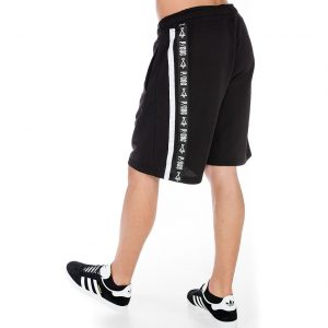 Black sporty shorts with P/COC tape and line on the side
