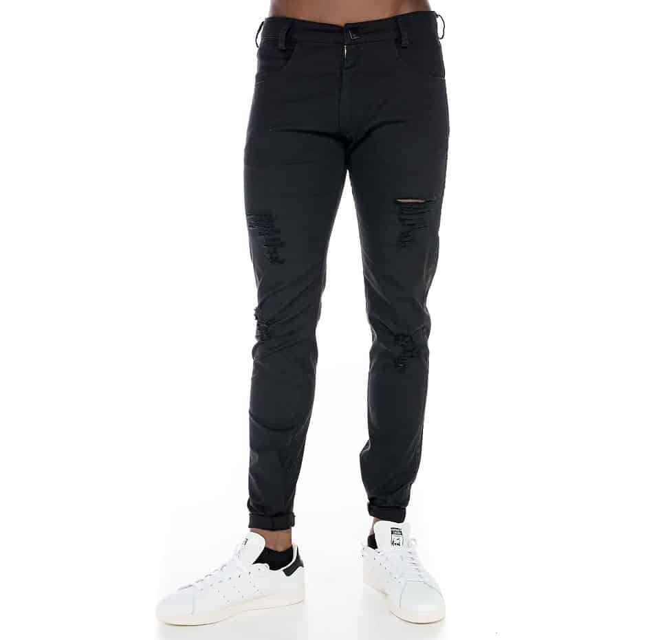 Black pants with tearings and slim fit