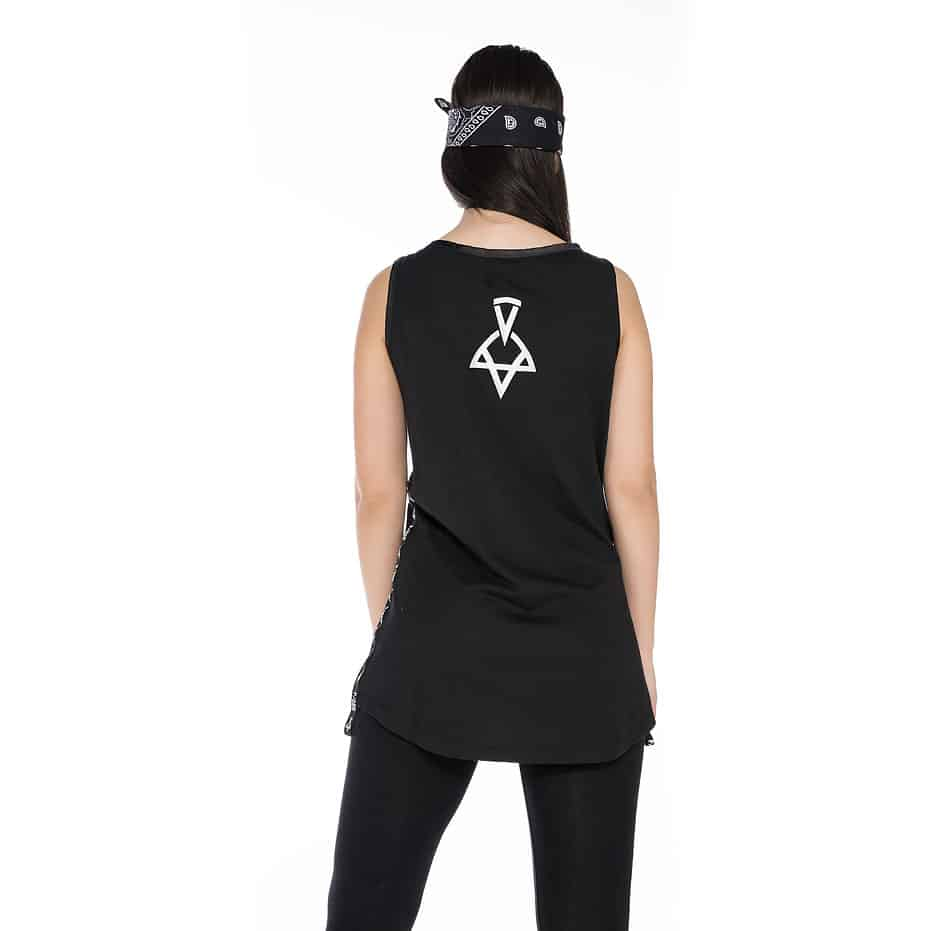 Sleeveless t-shirt with P/COC tape on the side and a logo on the back