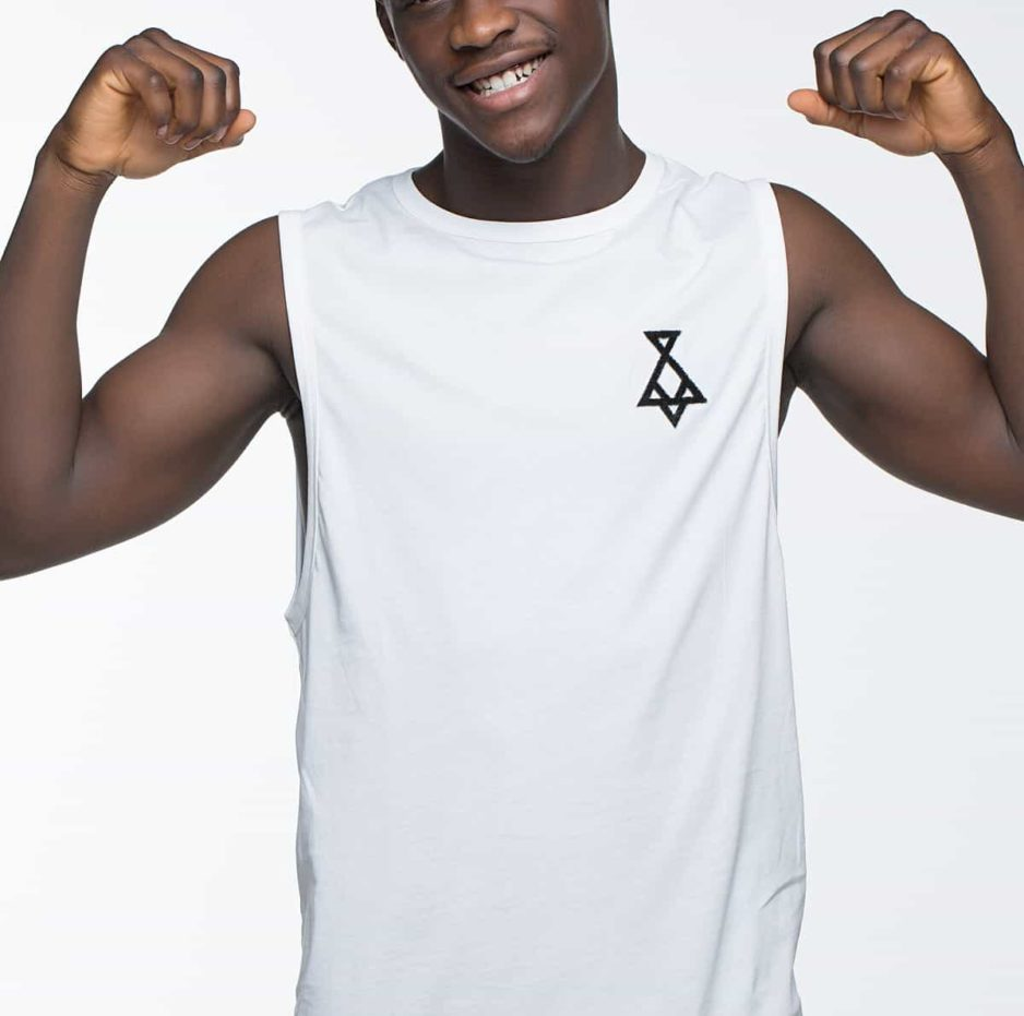 White sleeveless t-shirt with P/COC logo