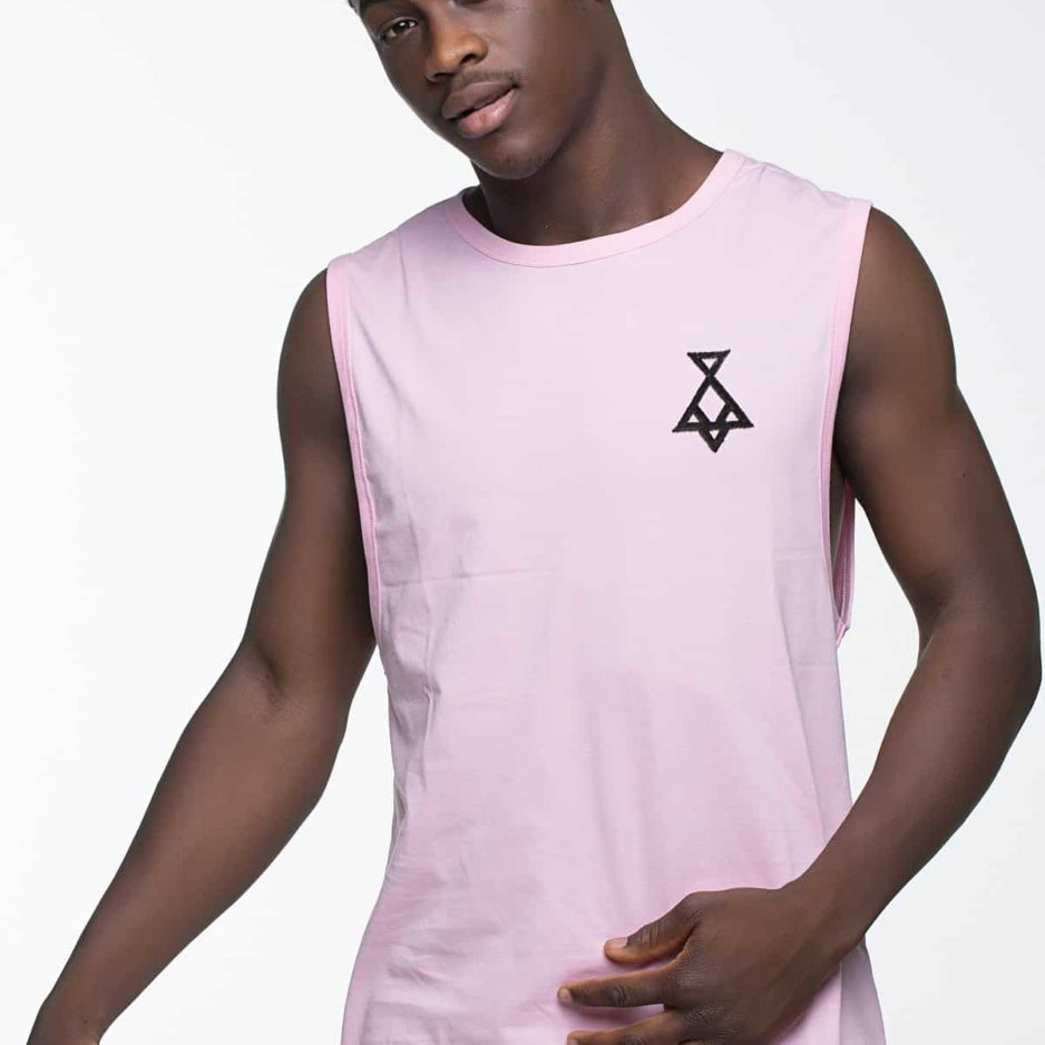 Pink sleeveless t-shirt with P/COC logo