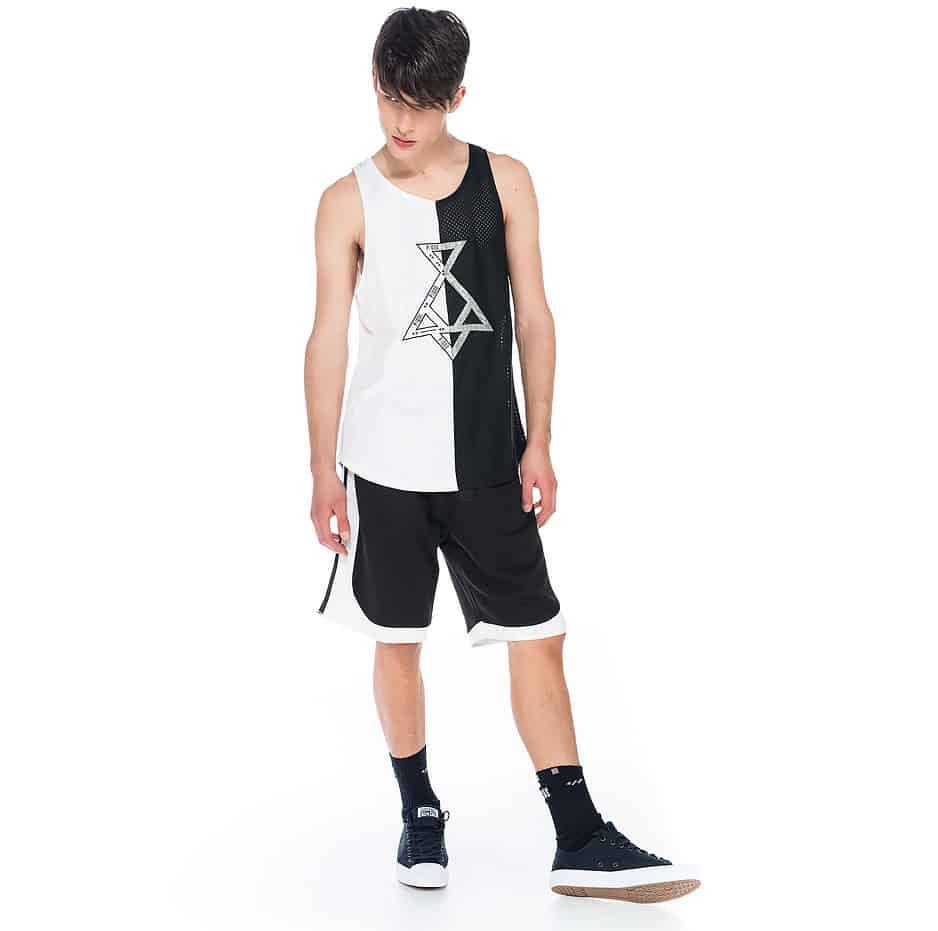 Sleeveless black and white t-shirt with P/COC logo in front