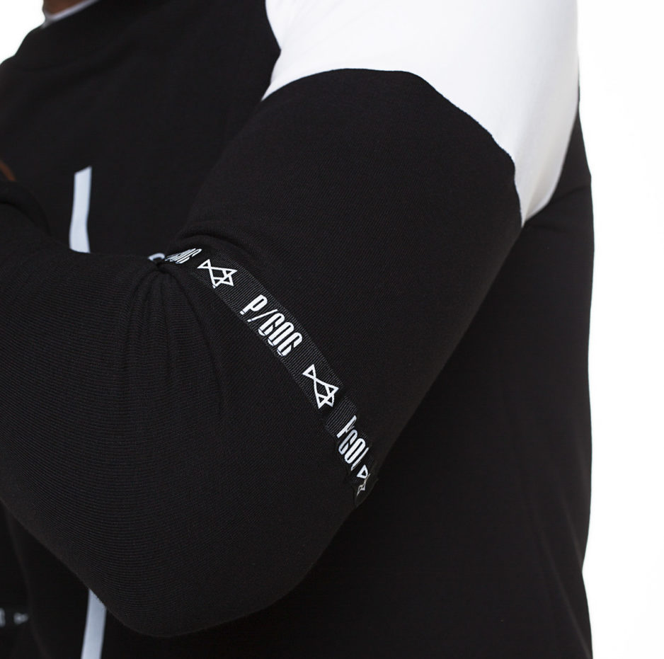 """Black and white sweater with """"Unique Apparel"""" printing"""