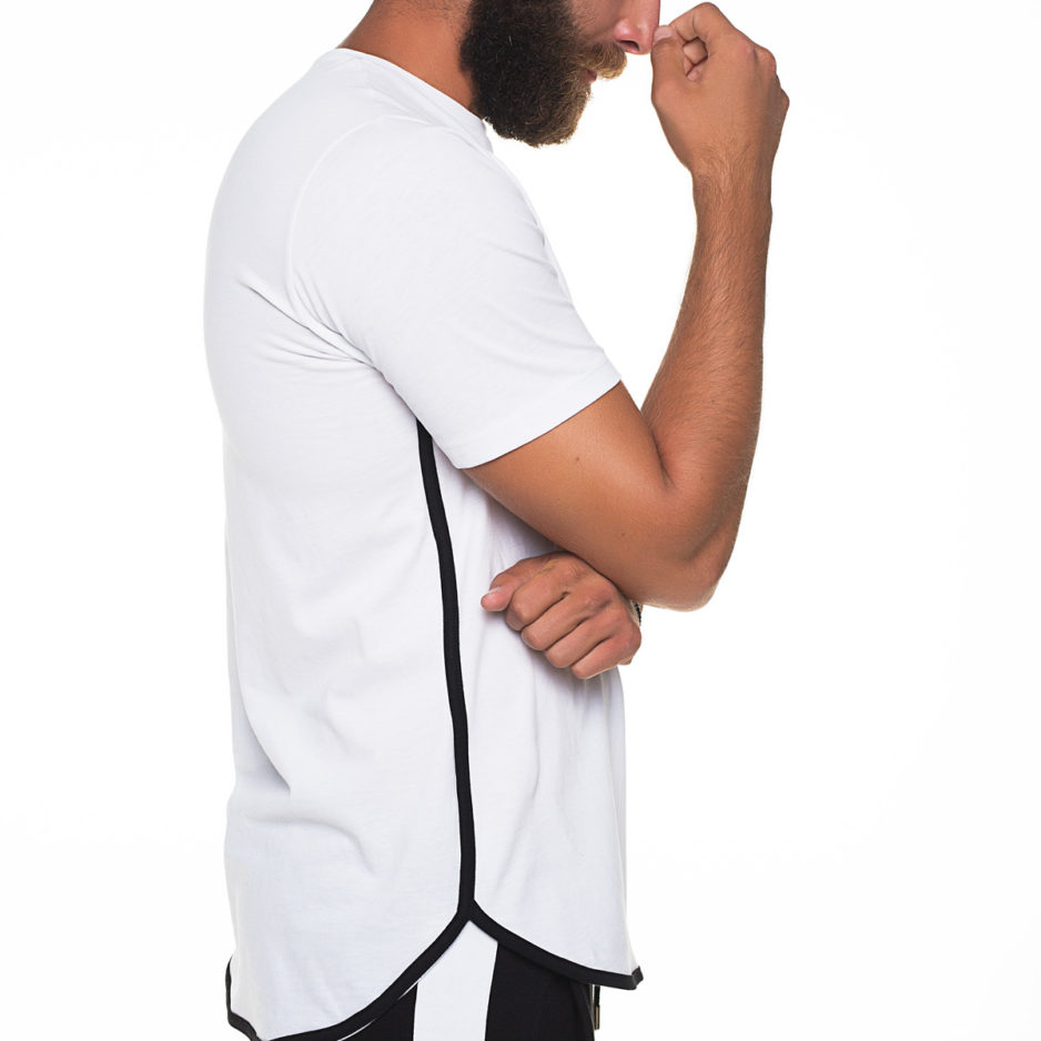 White t-shirt with black side spectrum
