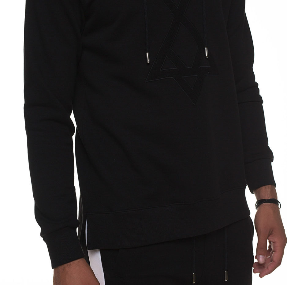 Black sweater with embroidered hoodie