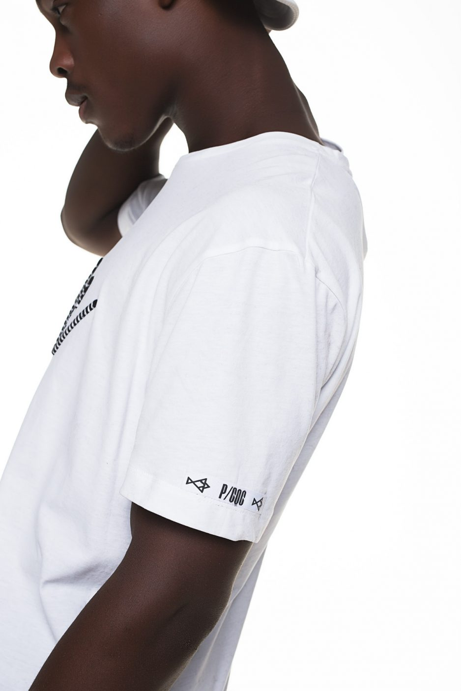 White t-shirt with P/COC embroidery