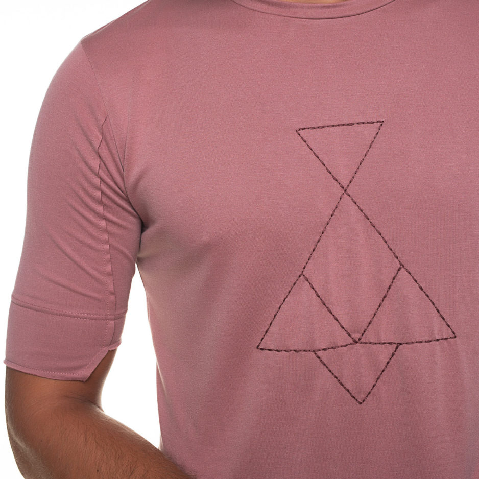 Pink t-shirt with P/COC logo embroidery
