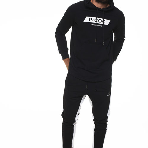 Hoodie with bindings on sleeves