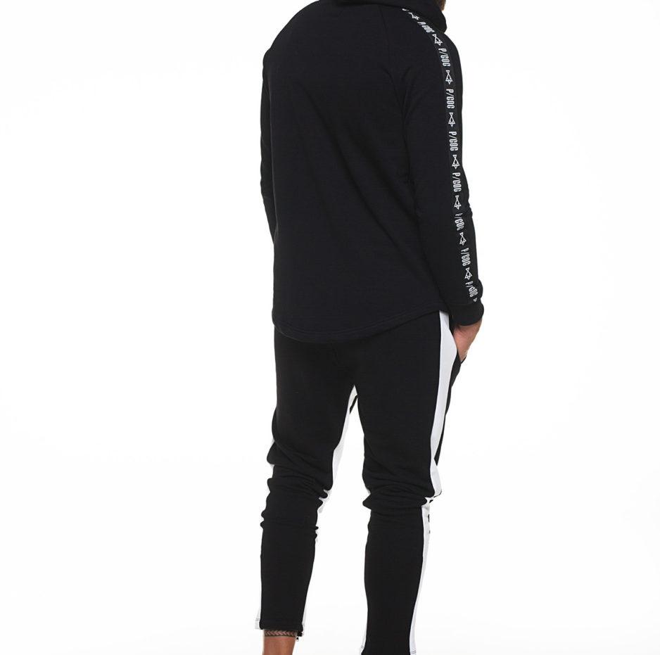 Hoodie with bindings on sleeves