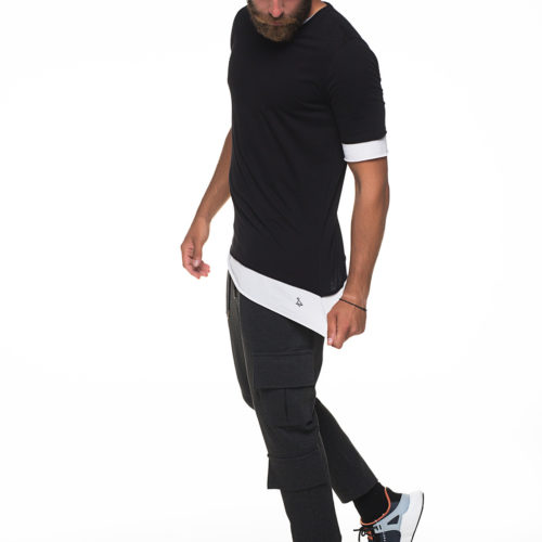 Black and white double fabric t-shirt