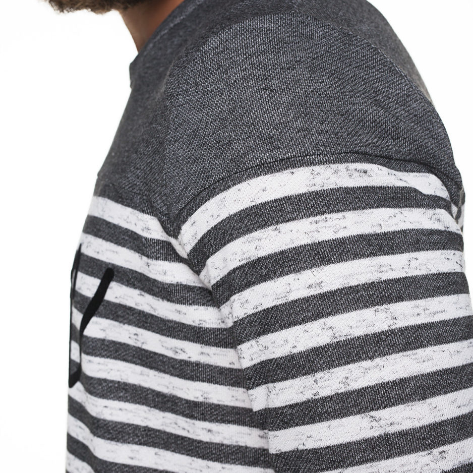 Grey striped sweater with flock printing