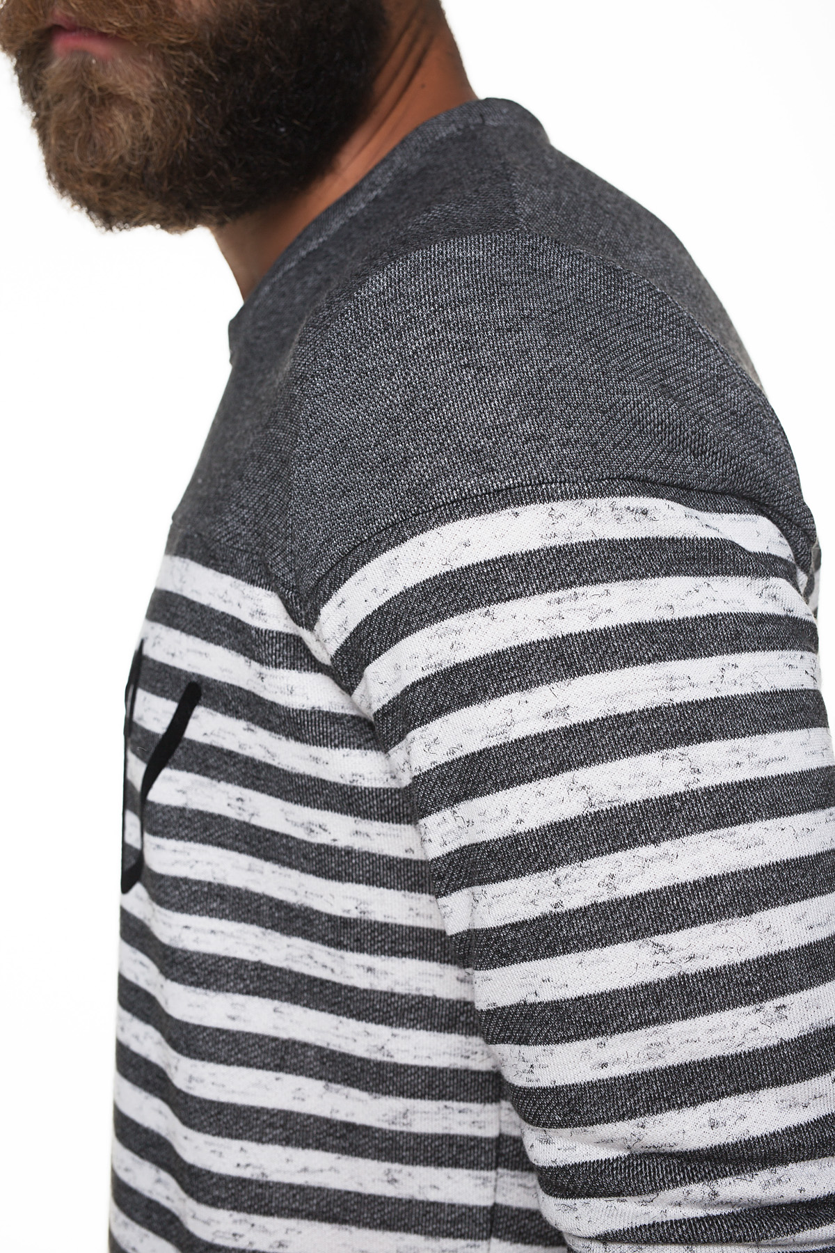 fba572c67c23 Grey striped sweater with flock printing - P COC