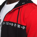Black and red jacket with bindings
