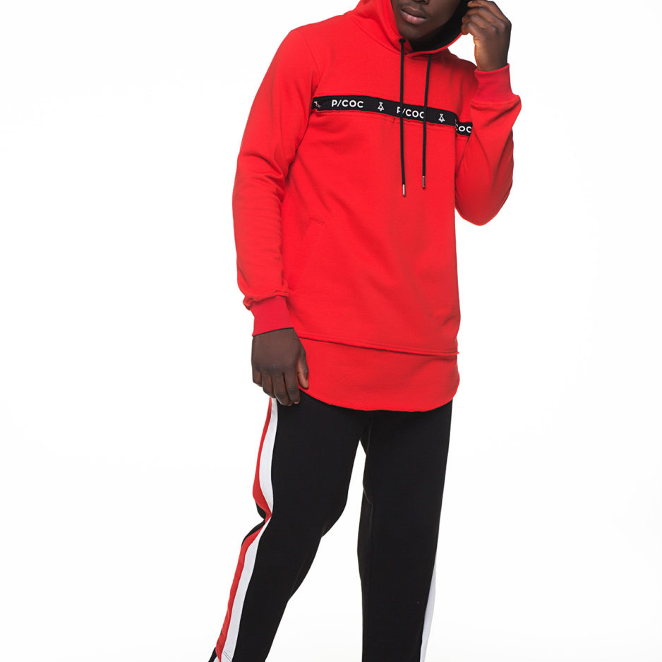 Red hoodie with front pockets