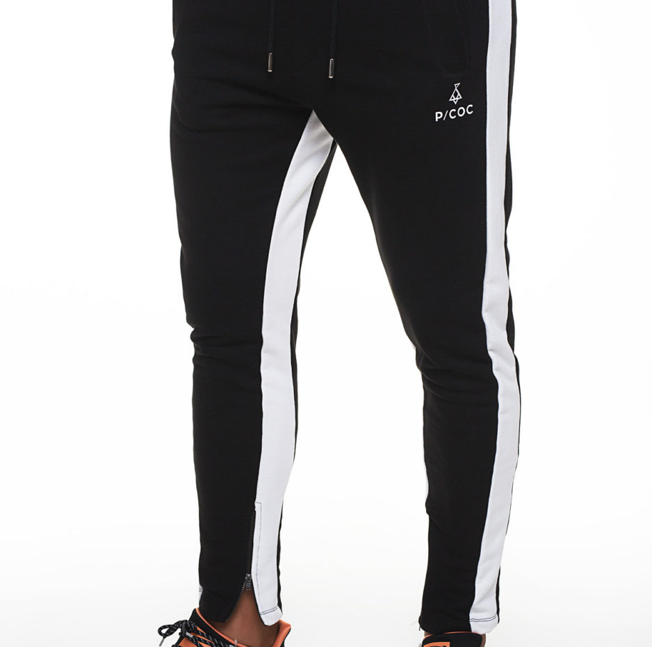 Sporty trousers with white side stripe and zipper