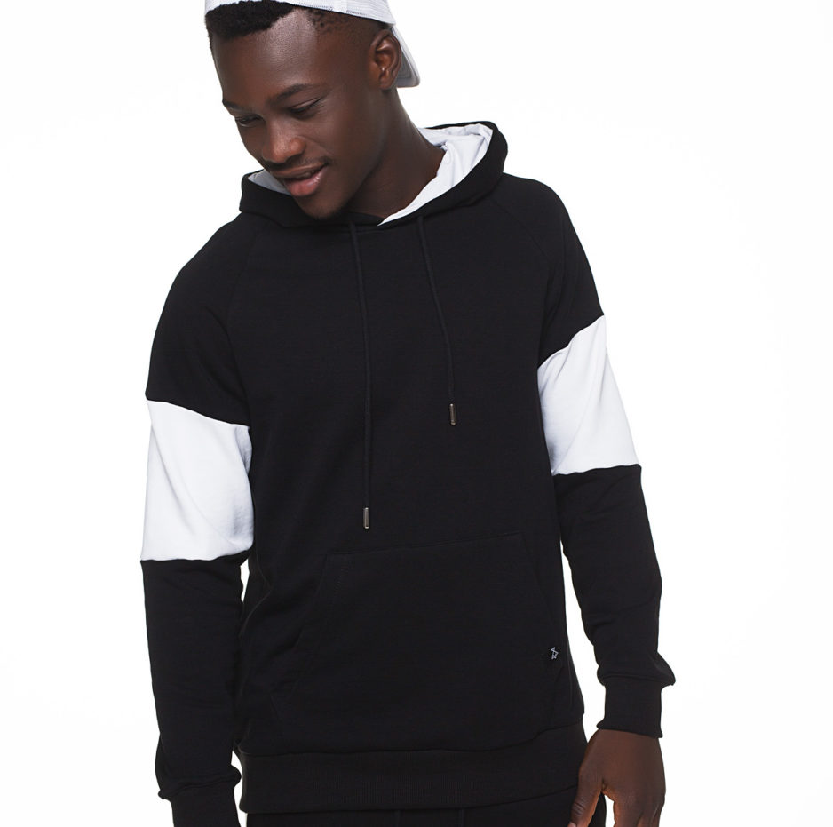 Black and white hoodie with front pocket