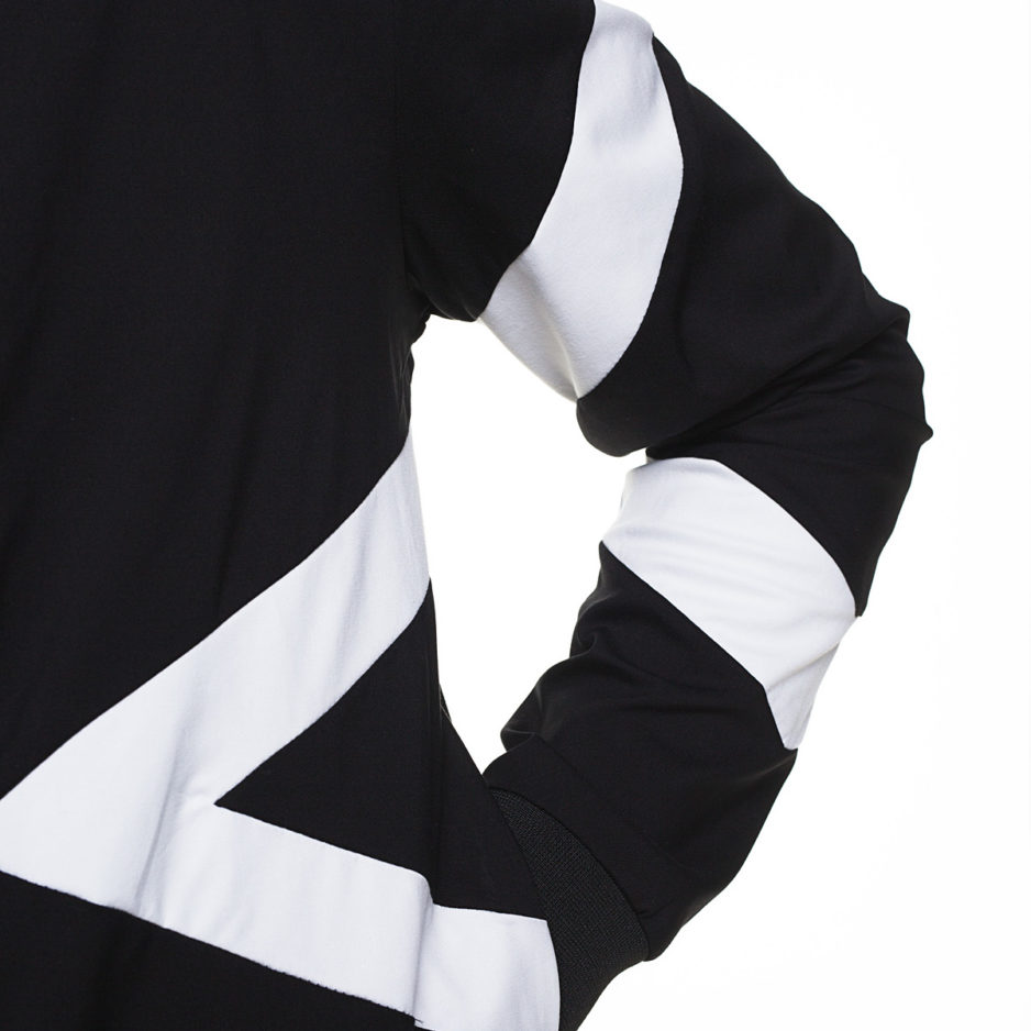 Bomber jacket with geometric designs