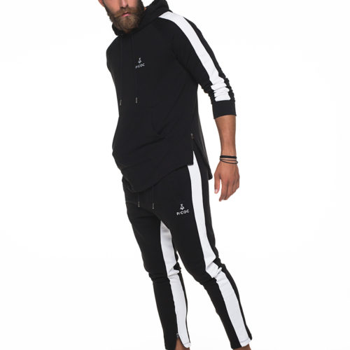 Black hoodies with white stripes on sleeves