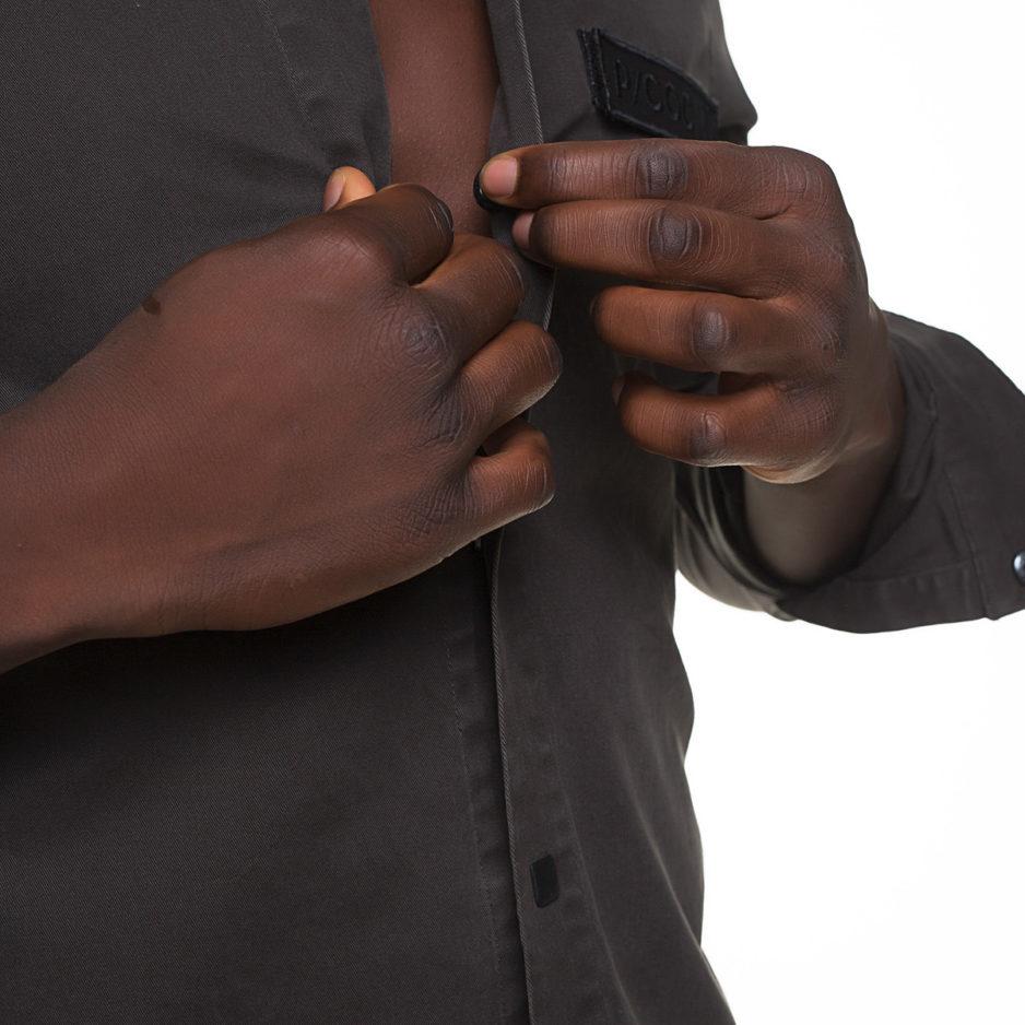 Κhaki jacket with buttons and zipper on the sleeve