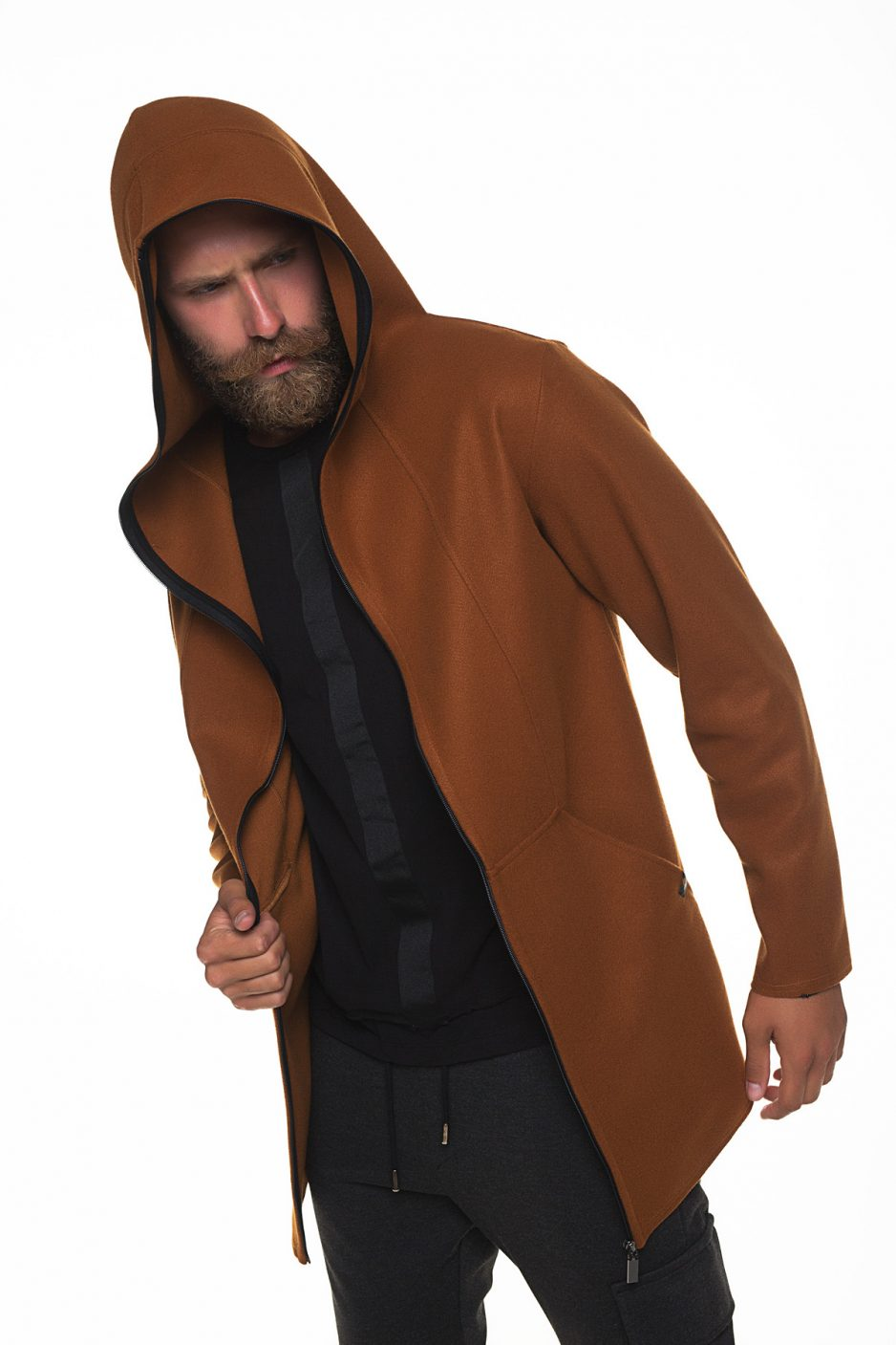 Long brown jacket with zipper