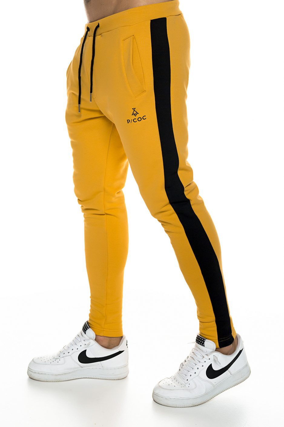 Camel sporty trousers with red side stripe and zipper