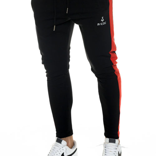 Sporty trousers with red side stripe and zipper