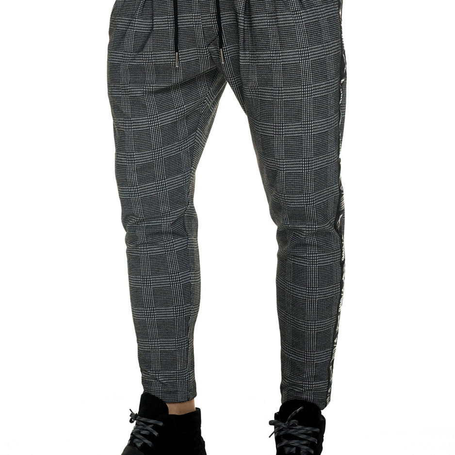 Checkered pants with bindings on the side