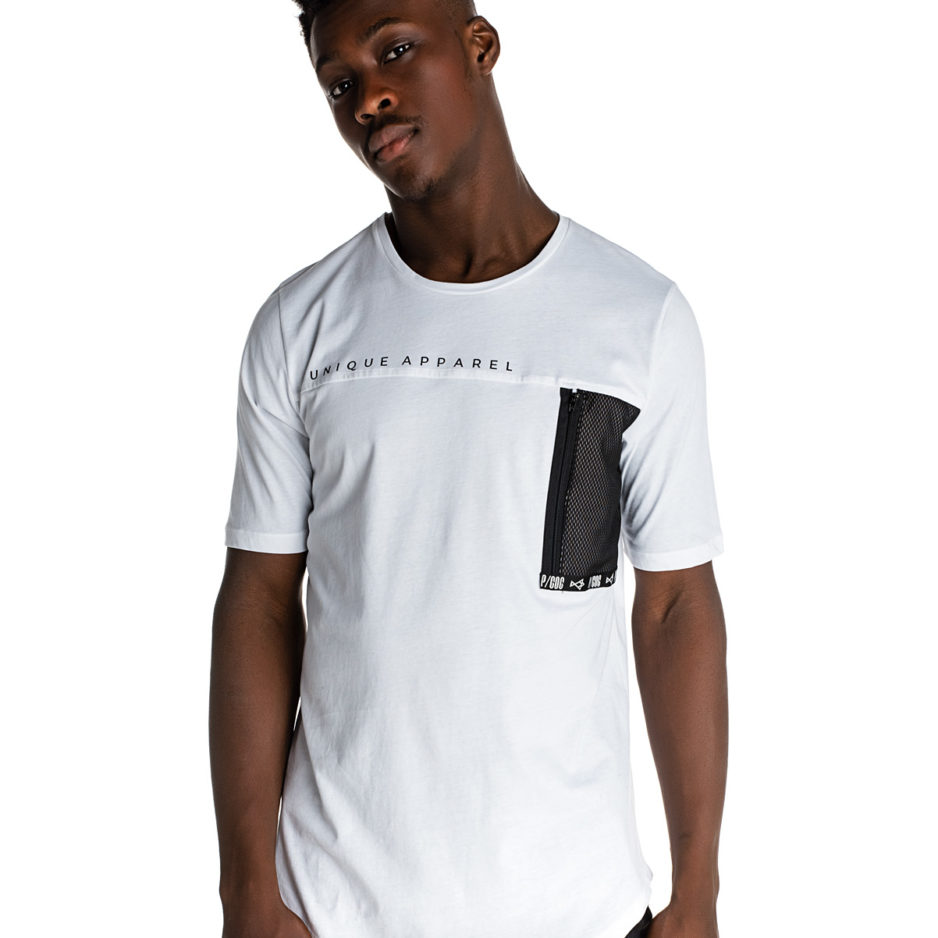 White t-shirt with net pocket