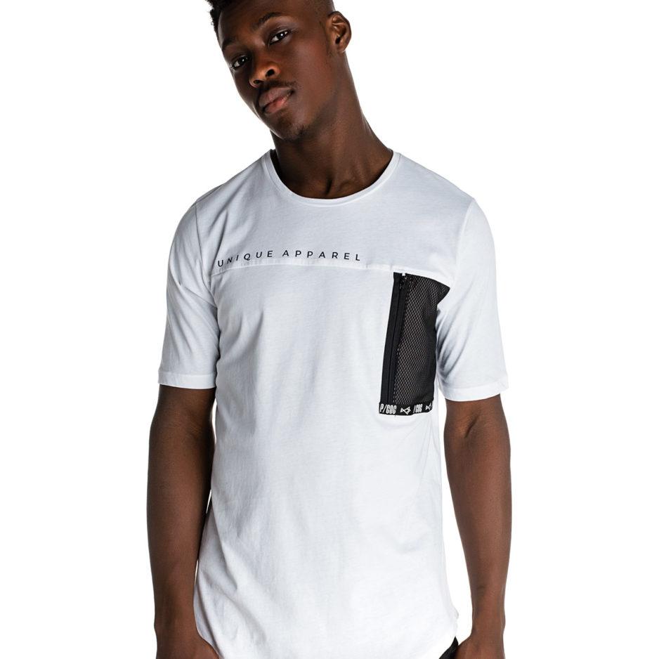 Λευκό t-shirt με δίχτυ τσέπη