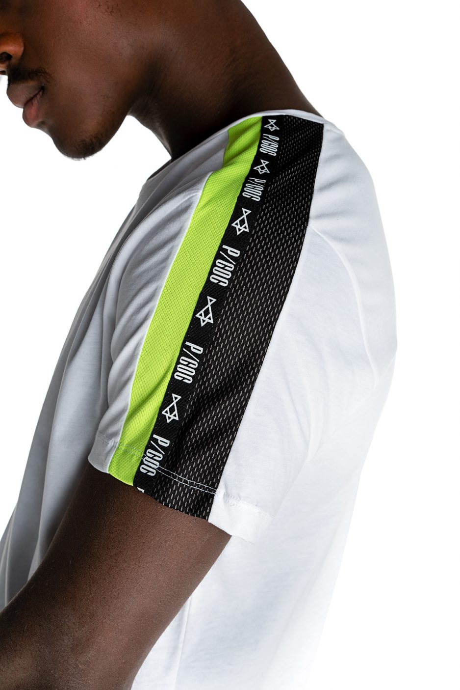 White P/COC t-shirt with green fluo details