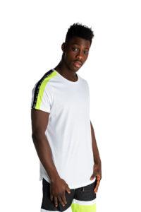 Λευκό t-shirt με λεπτομέρειες πράσινο fluo