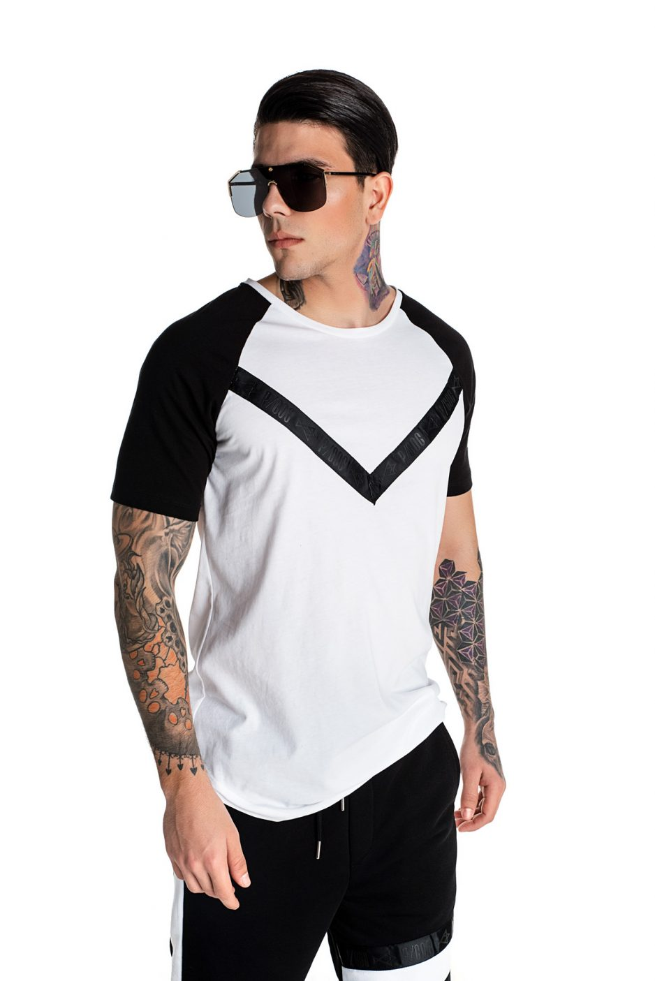 Black and white P/COC t-shirt with geometric design